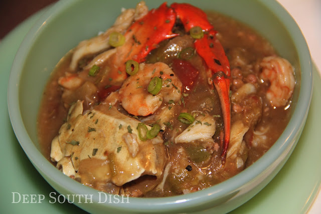 A bowl of Deep South goodness, this gumbo is seasoned with small crab bodies and then topped off with crabmeat and shrimp.