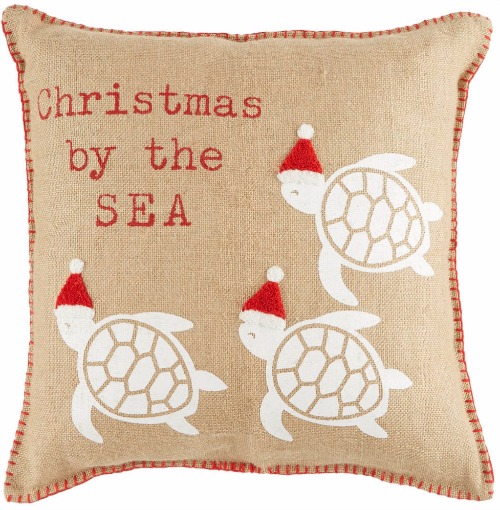 Santa Hat Sea Turtle Pillow