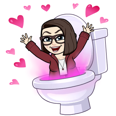 cartoon version of me pictured leaping out a toilet, surrounded by pink hearts