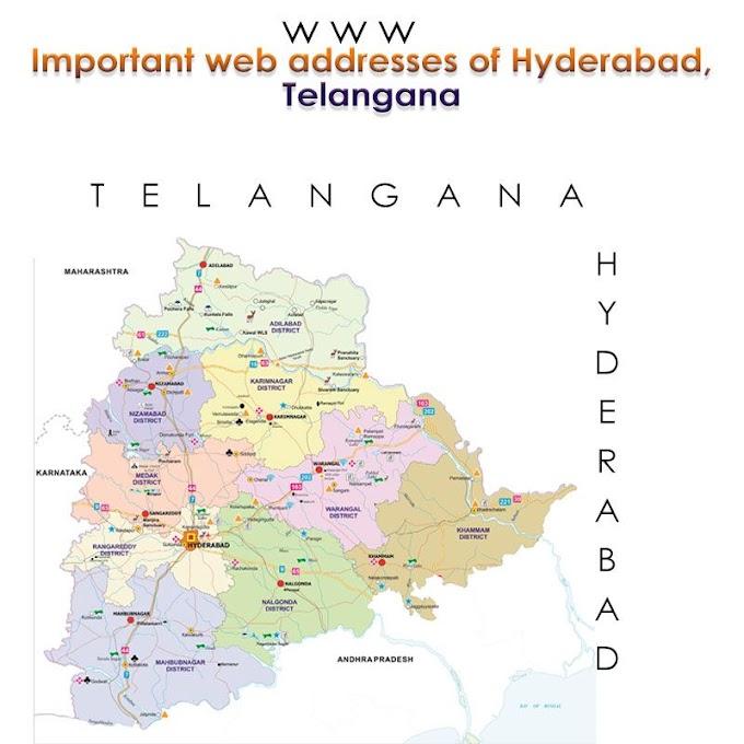 Important web addresses of Hyderabad, Telangana