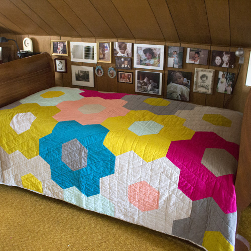 Monsterz Sized Hexagon Quilt designed by Cloud9fabrics