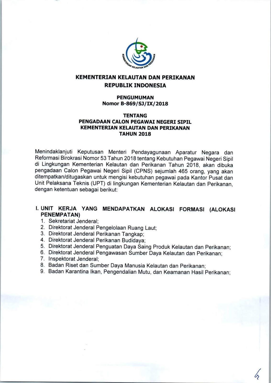 Lowongan Kerja   CPNS Kementerian Kelautan dan Perikanan   [465 Formasi]  Oktober 2018
