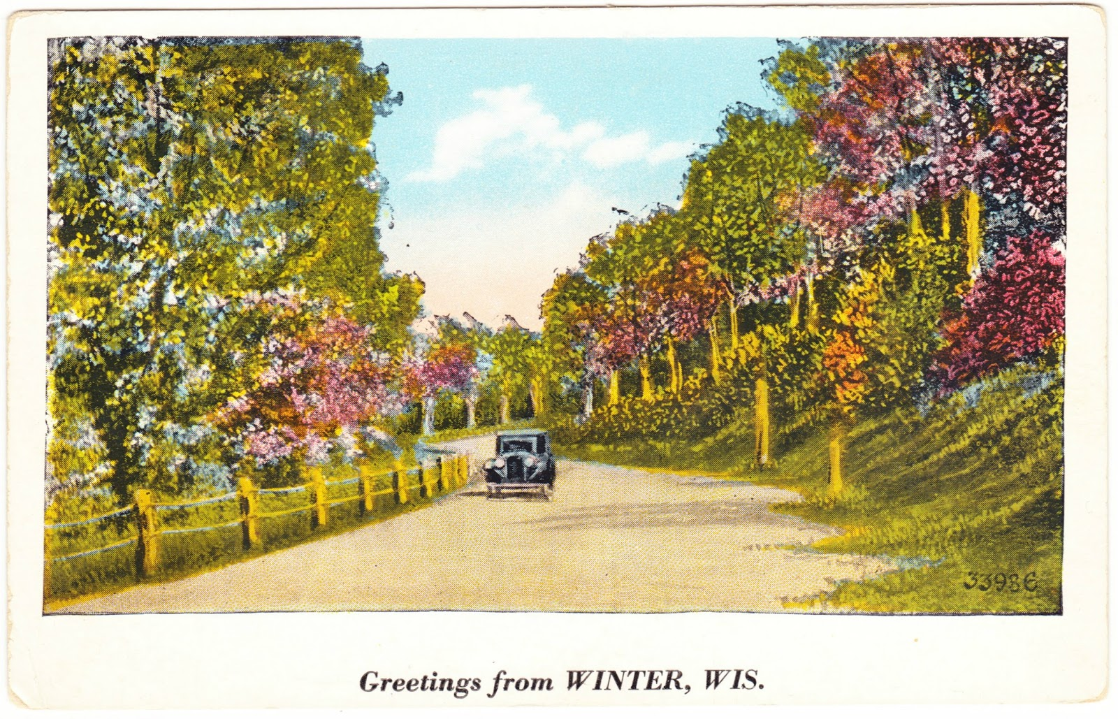 Papergreat pair of greetings from postcards greetings from winter wisconsin population about 230 in the village and 1000 in the town this postcard was mailed in the summer of 1934 to sally at m4hsunfo