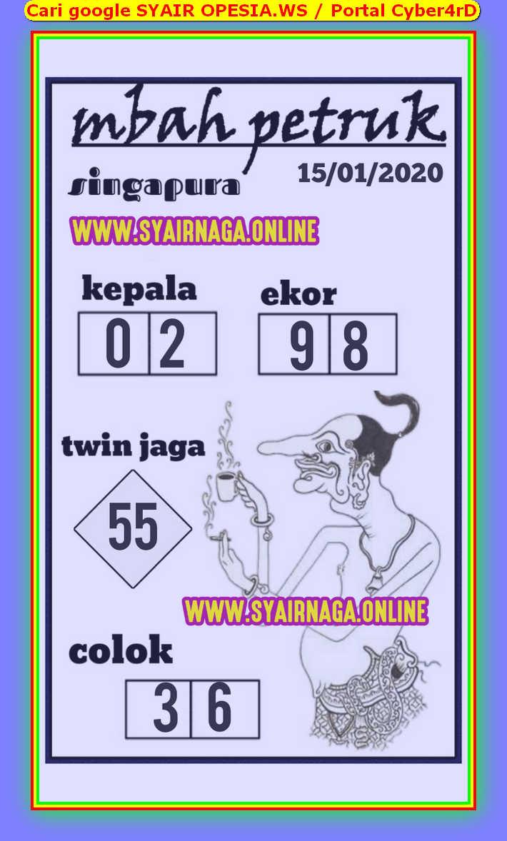 Kode syair Singapore Rabu 15 Januari 2020 104