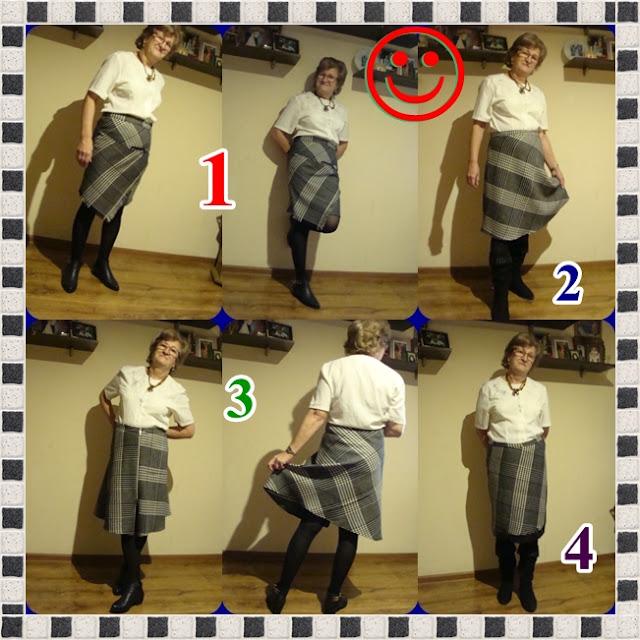 Cztery modele spódnic,ta sama tkanina.