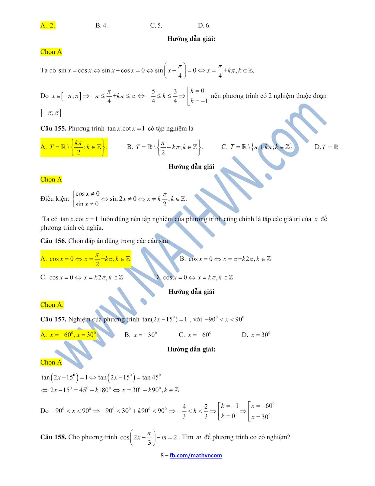 Bài tập trắc nghiệm phương trình lượng giác có lời giải chi tiết lớp 11