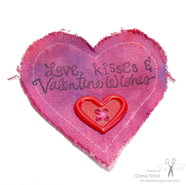 Stamped Canvas Heart Valentine by Dana Tatar for Paper Wings Productions