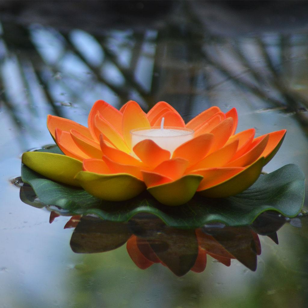 Lanternshop Floating Lotus Flowers With Candles