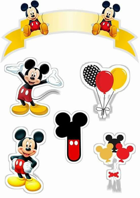 Primer Año de Mickey: Toppers para Tartas, Tortas, Pasteles, Bizcochos o Cakes para Imprimir Gratis.