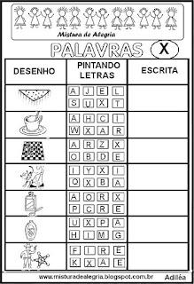 Sequência alfabética alfabetização letra X