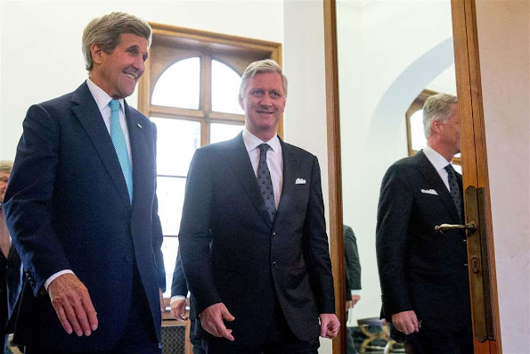 US Secretary of State John Kerry and King Philippe of Belgium meet at the Royal Palace