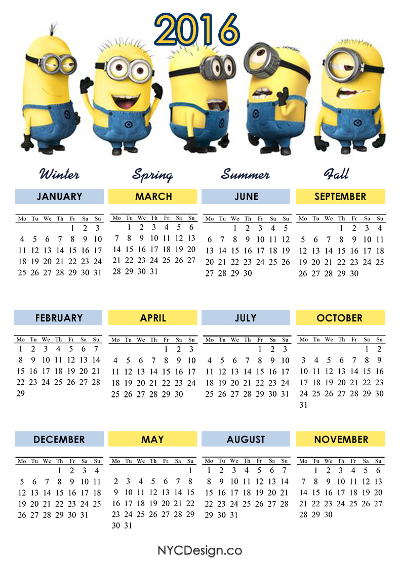Download image Minion Printable 2016 Calendar PC, Android, iPhone and