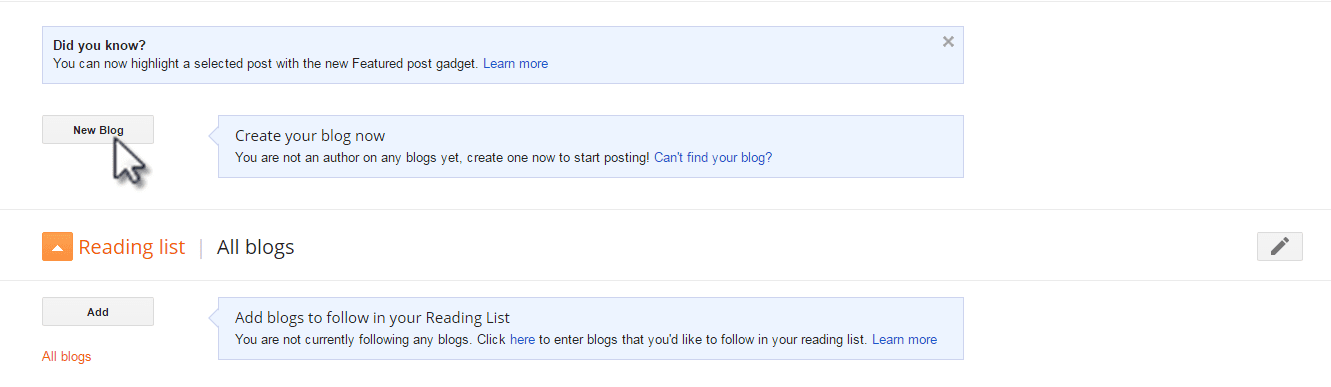 Click on new blog button to create your first blog