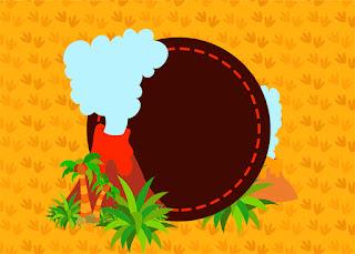 Para hacer invitaciones, tarjetas, marcos de fotos o etiquetas, para imprimir gratis de Fiesta de Dinosaurios.
