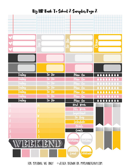 Back To School 2 Sampler Page 2 for the Big Happy Planner on myplannerenvy.com