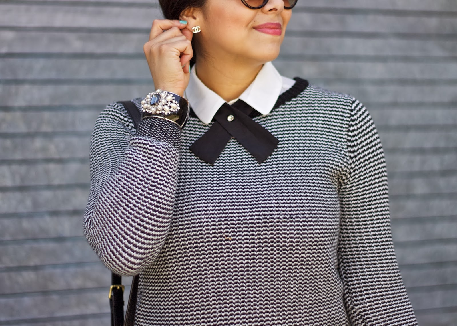 lilbitsofpau, chanel earrings, sweater weather in san diego, ann taylor glam cuff, black and white outfit
