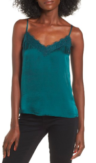 BP. Lace Trim Satin Camisole in Green Bug