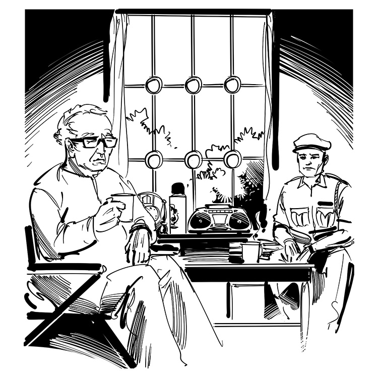 children's book illustration, old scientist talking with police officer