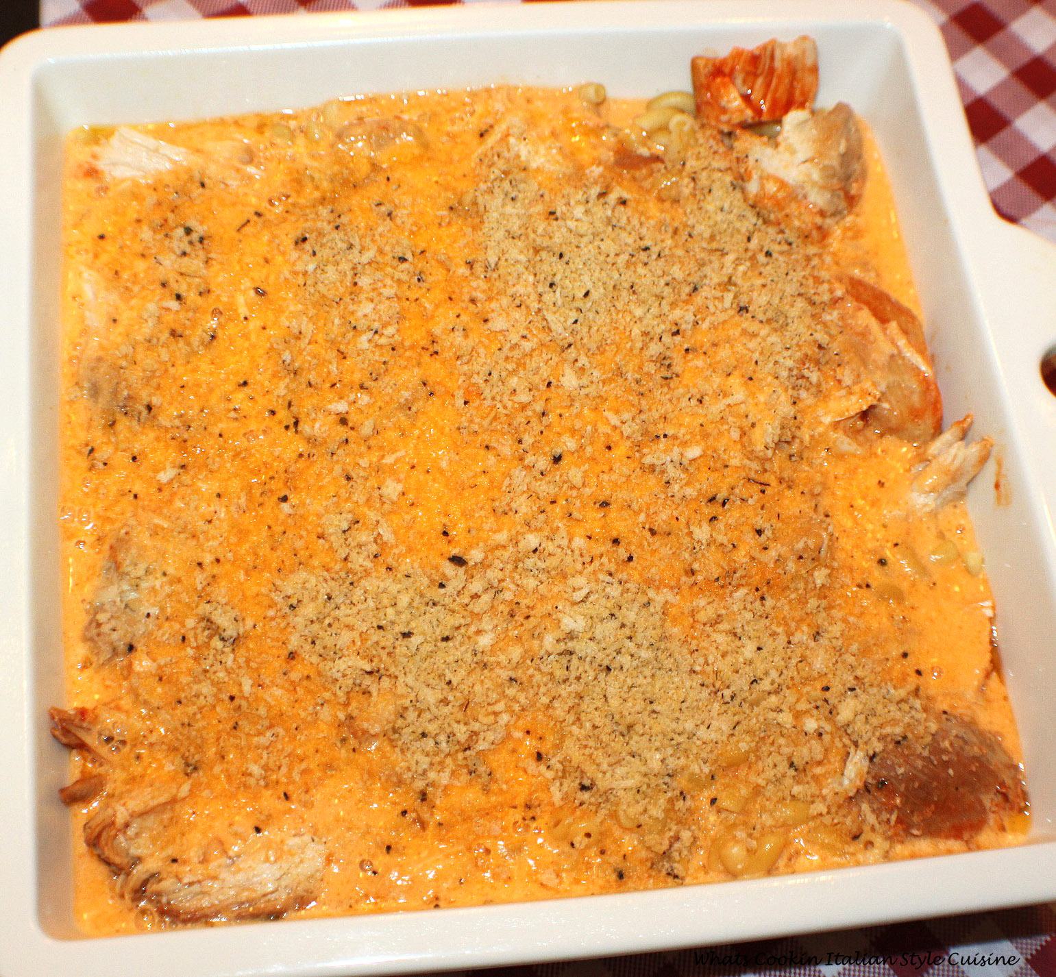 buffalo chicken wing flavor in this casserole with boneless chicken, hot sauce, macaroni and cheese all in one casserole dish