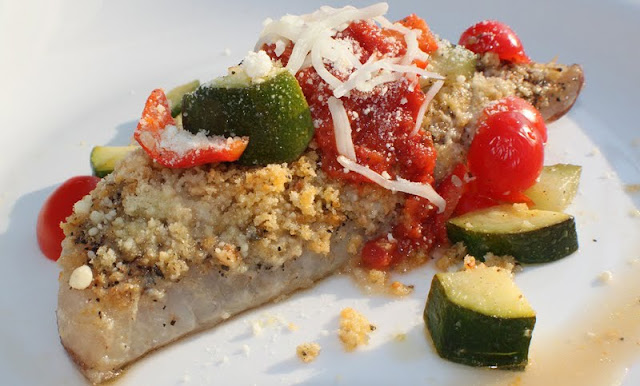 this is a thick piece of haddock with zucchini salsa on top