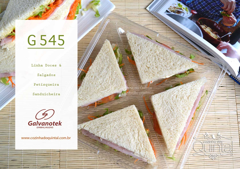 Embalagem Galvanotek G 545 para sanduíches ou petiscos na Cozinha do Quintal