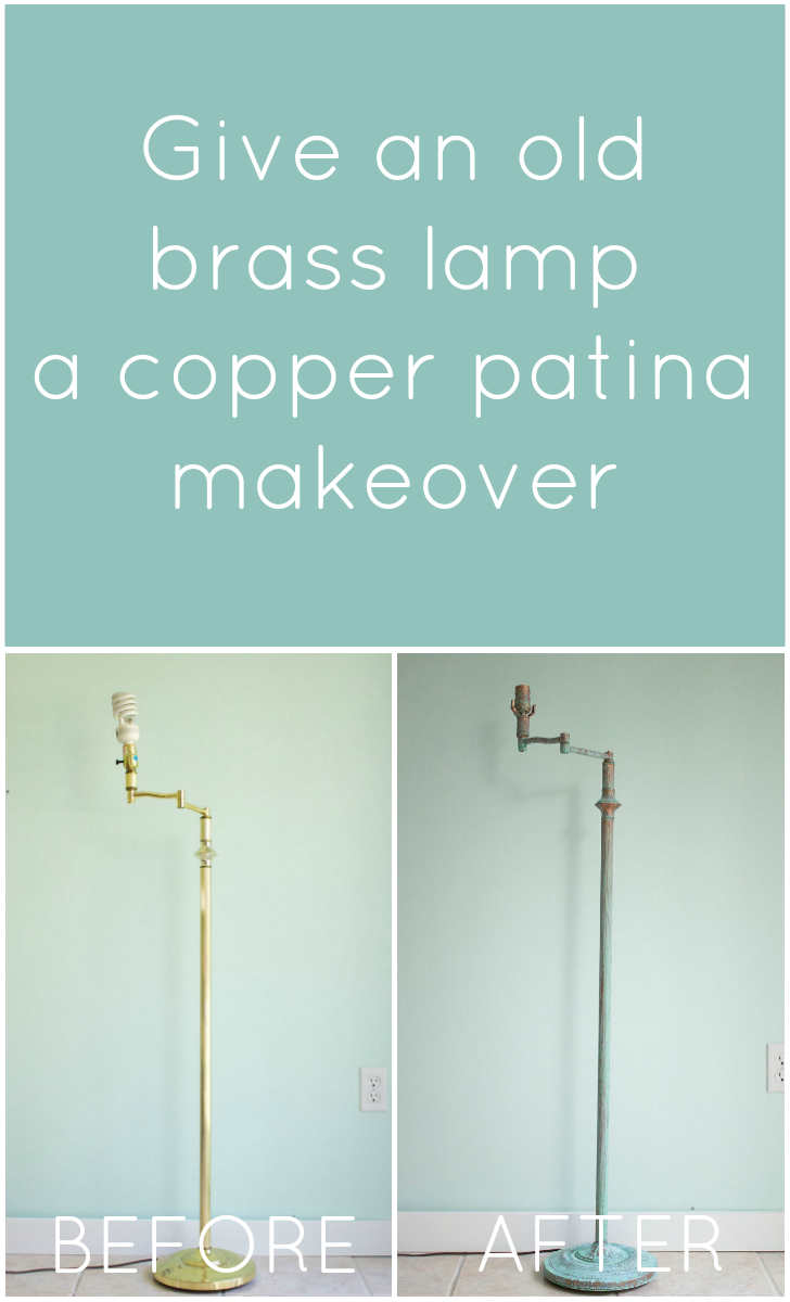DIY Brass lamp makeover using a green patina
