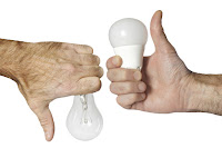 Thumbs up for LED, thumbs down for incandescent bulbs