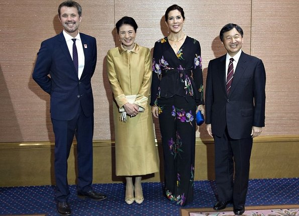 Frederik, Crown Princess Mary, Crown Prince Naruhito, Crown Princess Masako. Erdem Lily-print jersey gown