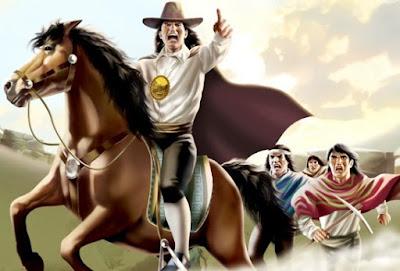 Dibujo de Túpac Amaru II montado en su caballo a color
