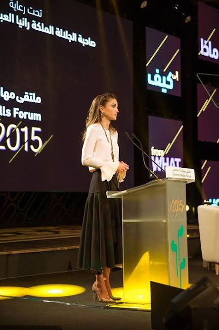 Queen Rania of Jordan attended the 2nd Teacher Skills Forum held at the King Hussein bin Talal Convention Center at the Dead Sea in southern Jordan