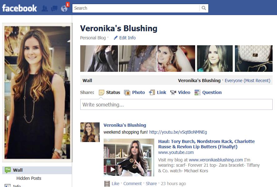 Veronika's Blushing-on Facebook!