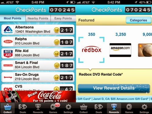 Checkpoints rewards smartphone app