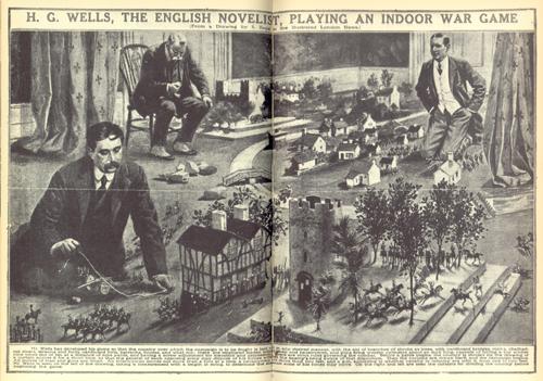 H.G. Wells jugando a un juego de guerra