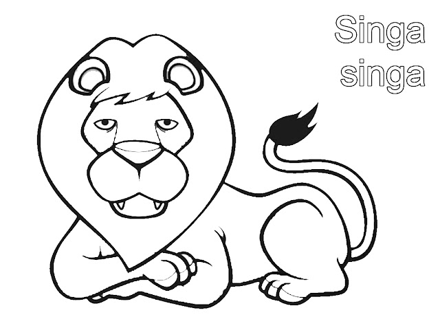 gambar mewarnai singa si raja hutan