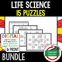 Life Science Puzzles, Life Science Digital Puzzles, Life  Science Google Classroom, Vocabulary, Test Prep, Unit Review