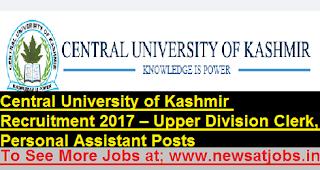 Central-University-Kashmir-20-U-D-C- Assistant-vacancies