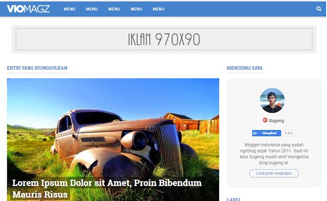 VioMagz, Template blogger keren terbaru sugeng.id