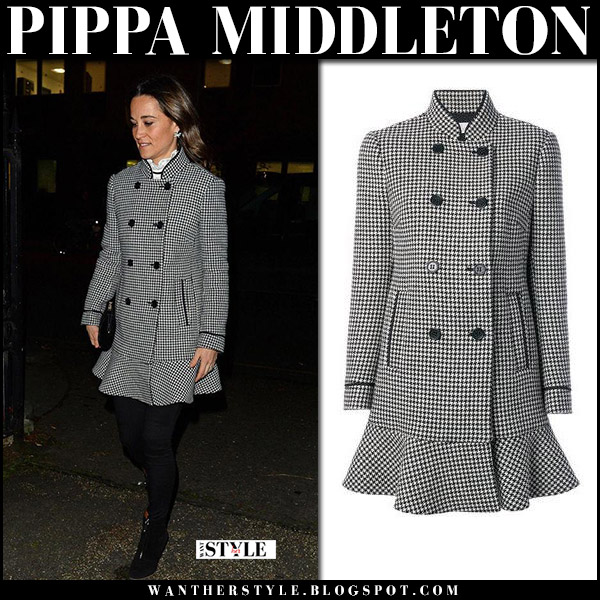 Pippa Middleton in black peplum houndstooth print coat valentino winter royal fashion december 5
