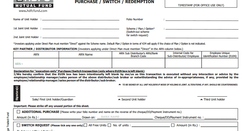 hdfc mutual fund redemption form india
