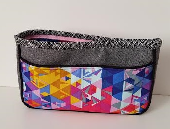 Melissa Made This Striking Sophia Pouch Her Combination Of Linen And Bright Graphic Quilting Cotton As Well Crosshatch Binding Is Just Perfect