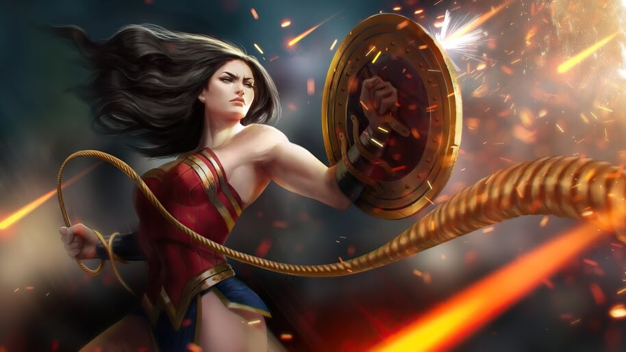 Wonder Woman, Lasso of Truth, Shield, 4K, #6.2016