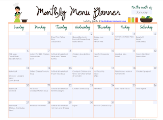 January 2019 Meal Calendar And Molly Makes Three.: January 2019 Meal Plan