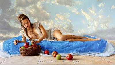 retrato de mujer seidesnuda con bodegon de frutas