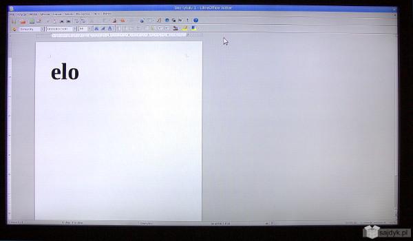 LibreOffice na ekranie TV z komunikatem od mojego starszego syna... Podobno za tymi trzema literami wiele się kryje ...