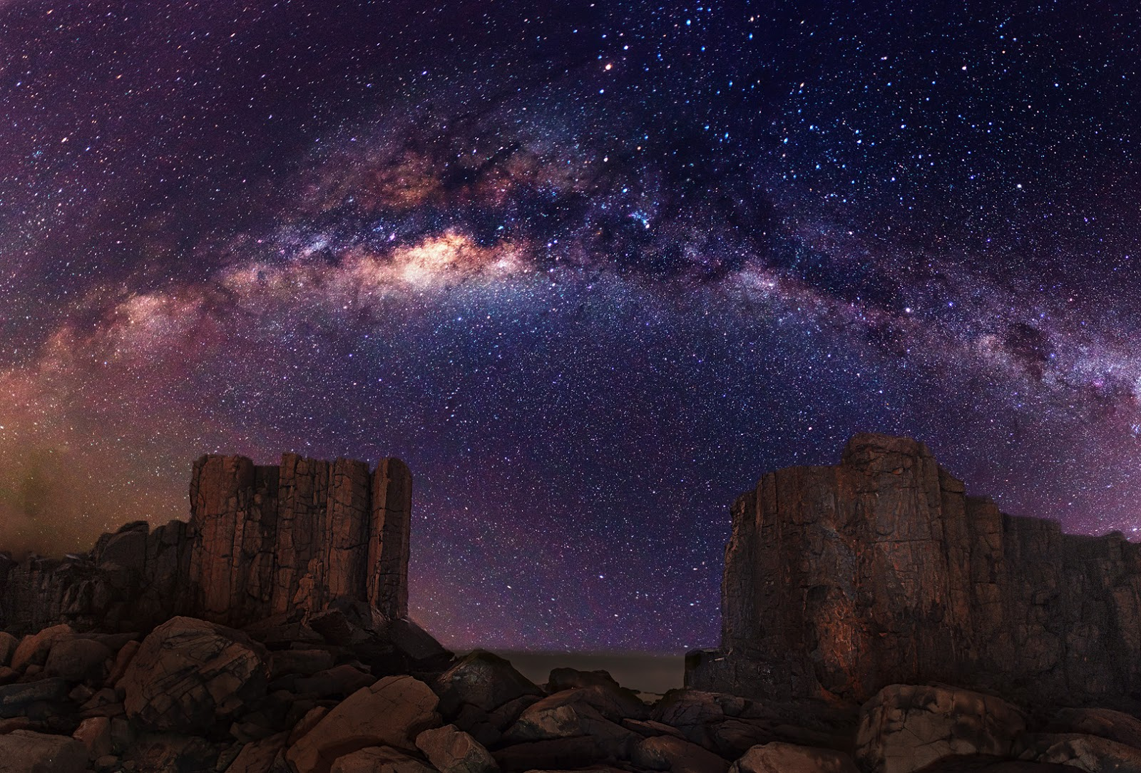 Galaxy Milky Way Stars Desert Night Rocks Stones
