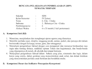 Download Contoh RPP Kurikulum 2013 Revisi 2017