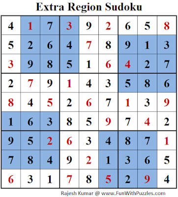 Extra Region Sudoku (Daily Sudoku League #149) Solution