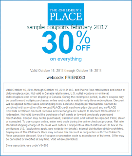 free Childrens Place coupons february 2017