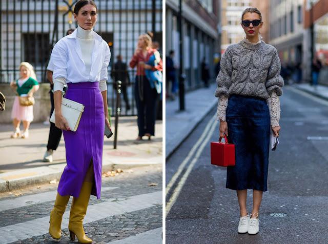 Яркая юбка с контрастной сумкой