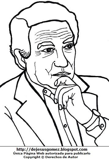 Dibujo de Octavio Paz para dibujar y pintar. Imagen de Octavio Paz para niños de Jesus Gómez